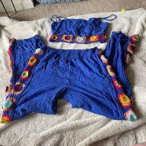 Granny square Crop top and pants set